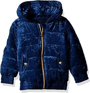 Girls' Quilted Velvet Bomber Jacket with Hood