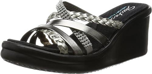 Skechers 38566, Sandales Femme - gris - Pewter Rhinestone, 38,5 EU (M)