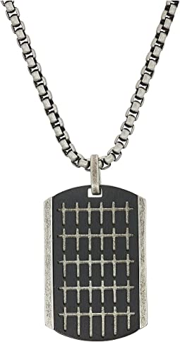 "Steve Madden Small Cross Pattern Dogtag Necklace with 18"" Box Chain"