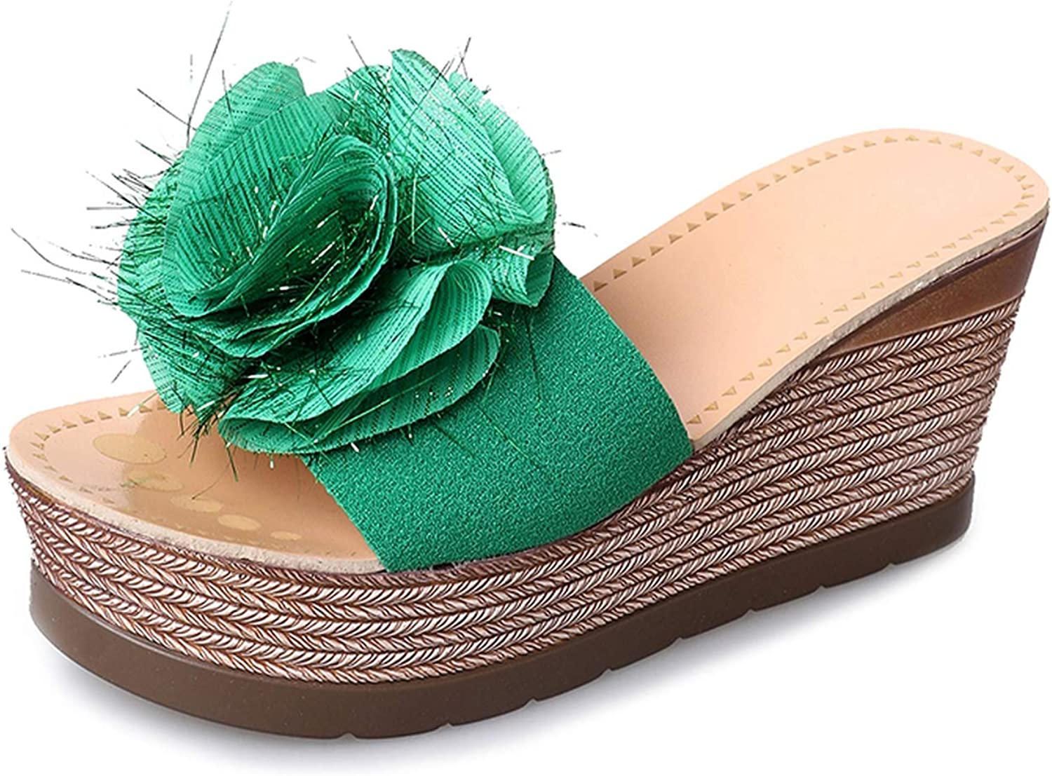 Slippers Women Platform shoes Woman Slippers Slides Flower Thick High Heel Green Red Ladies shoes Female