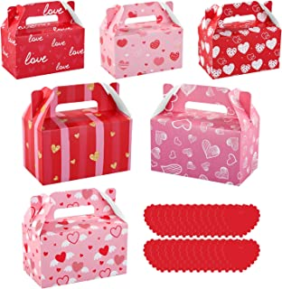 Toyvian Valentines Day Treat Boxes 24pcs Cardboard Hearts Goody Bag Cookie Boxes Party Supplies 6 Designs Valentines Candy...