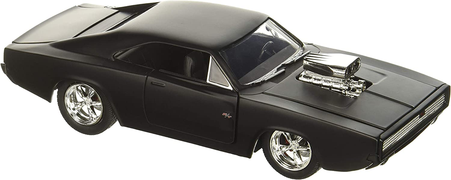 Fast & Furious F7- Dom's 1970 Dodge Charger Street Matte Black Die-cast Collectible Toy Vehicle