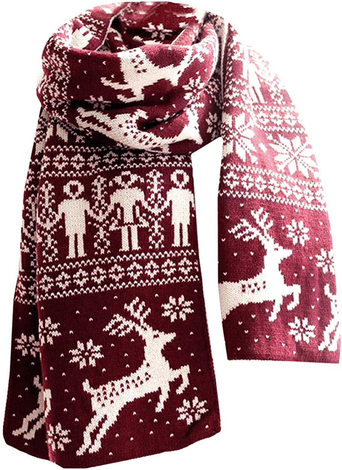 Rebecca Women Knitting Scarf Christmas Reindeer Snow Flake Shawl Blanket