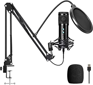 USB Condenser Microphone Kit, Computer Mic with Adjustable Scissor Arm Stand Shock Mount for Podcasting,YouTube,Gaming,Stu...