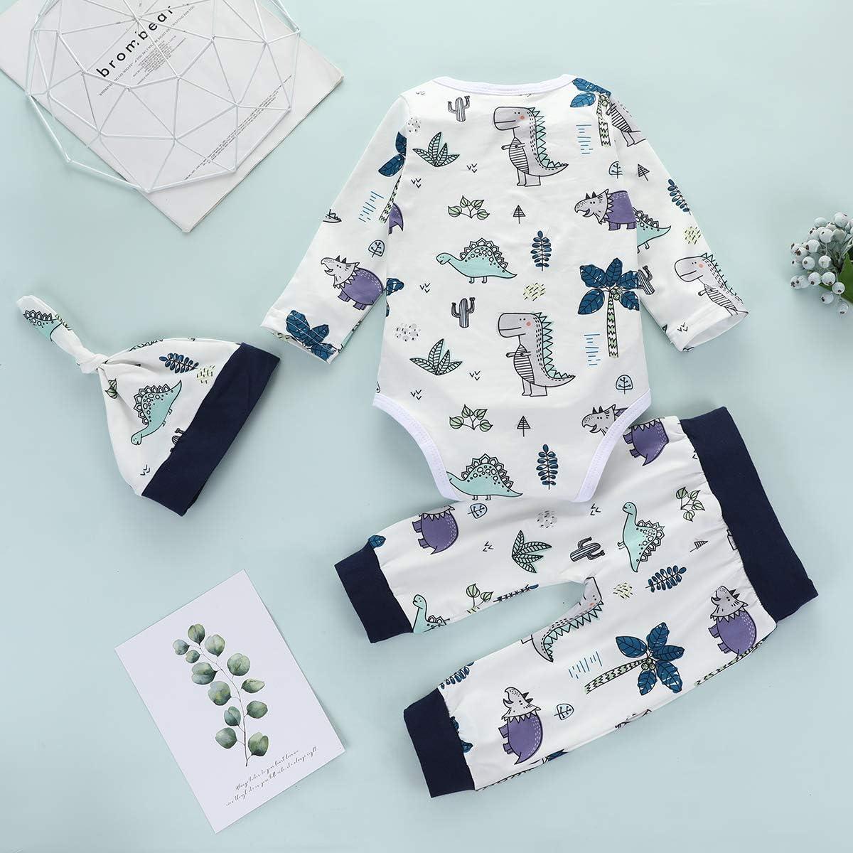 3Pcs Newborn Baby Boy Clothes Dinosaur Printed Long Sleeve Romper Warm Long Pants Set Hat Outfits