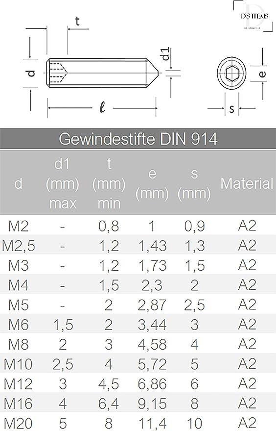 Gewindestift V2A DIN 914 m Spitze M10 X 25 Edelstahl A2 - Madenschraube 1 St/ück