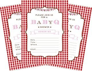 BBQ Baby Pink 5x7 Baby Shower Invitations - 24 Invites and 24 Envelopes