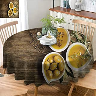 ScottDecor Dining Round Tablecloth Kitchen,Olive Oil in Little Bowls Printed Tablecloth Diameter 36