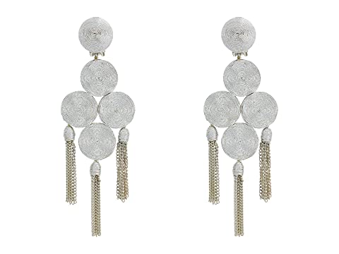 Oscar de la Renta Embroidered Tassel C Earrings