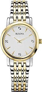Bulova - Diamond Classic 98S115 - Reloj de Pulsera de diseño para Mujer - Acero Inoxidable - Dorado