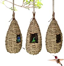 Gute Hummingbird House, Grass Hand Woven Birdhouses for Outdoors Hanging, Natural Bird Hut for Outside, Bird Houses for Au...