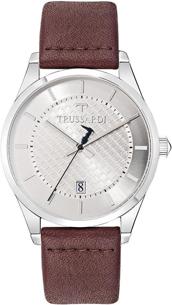 Trussardi,orologio per uomo,cassa in acciaio e cinturino in pelle R2451113004