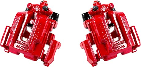 CCK02497 [ 2 ] REAR Performance Grade Red Powder Coated Semi-Loaded Caliper Assembly Pair Set