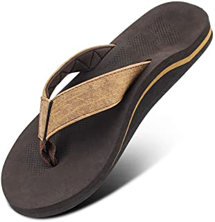Men Sandals Flip Flop with Orthotic For Flat Feet Plantar Fasciitis Arch Support Athletic Slide Sandals for Men with Soft Cushion Footbed