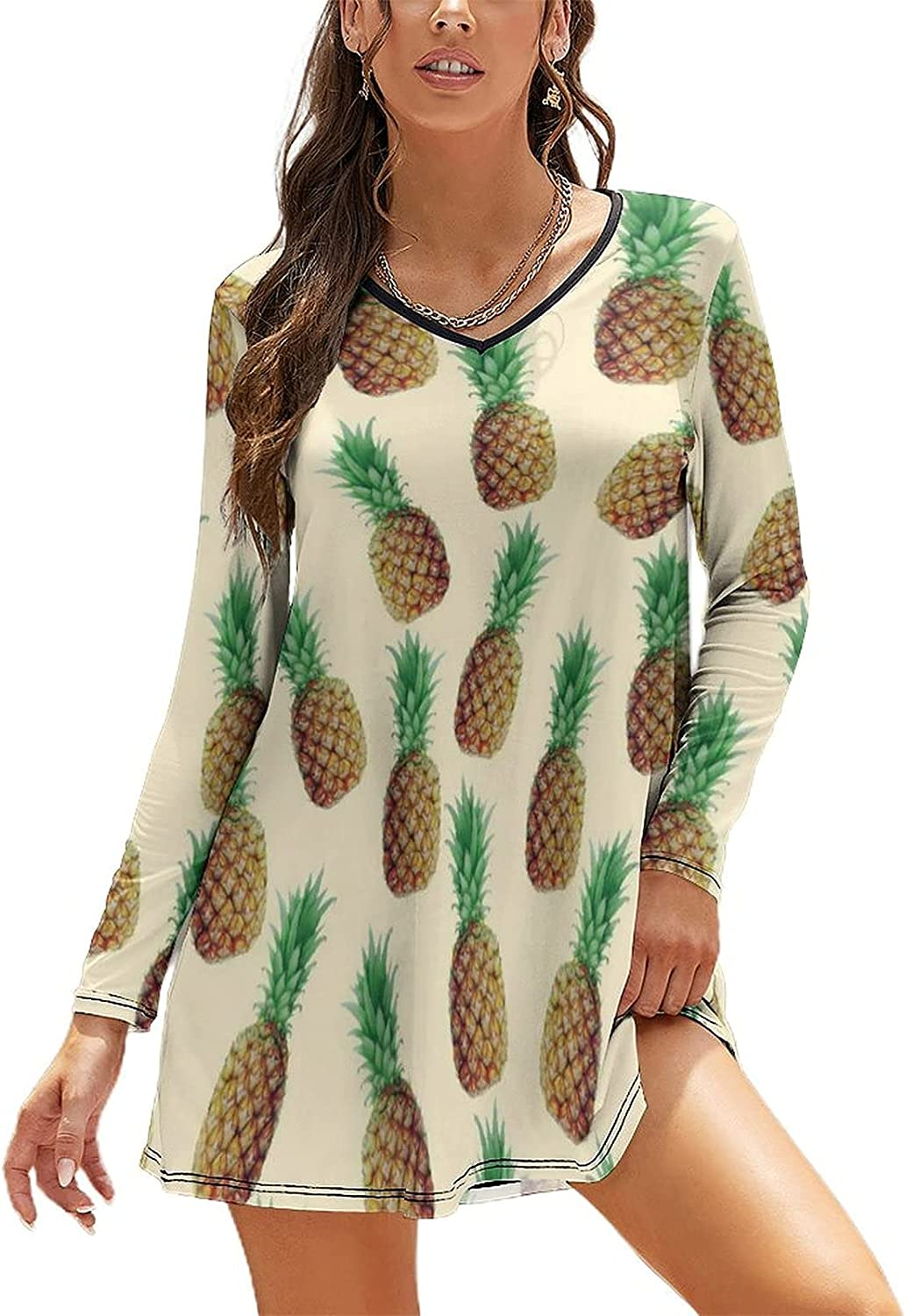 OSXUMLU Pineapple Painting V Neck Dress Casual for Loose Rare L Cash special price Women