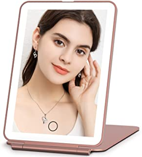 Rechargeable Makeup Vanity Mirror with 72 Led Lights, Lighted Portable Light up Travel Beauty Mirror, 3 Color Lighting, Dimmable Touch Screen, Tabletop Cosmetic Mirror (Rose Gold)