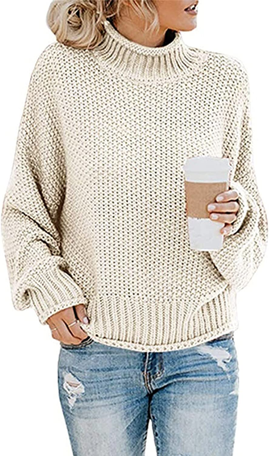 Womens Long Sleeve Tops Sweaters Loose Casual Solid Color Turtleneck Chunky Knitted Pullover Top