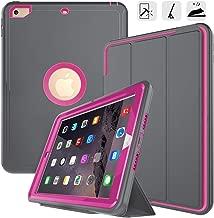 DUNNO New iPad 9.7 2017/2018 case Grid Non Slip Surface Three Layer Heavy Duty Full Body Protective Case for Apple iPad 9.7 2017, iPad (5th Generation) (Grey/Rose)
