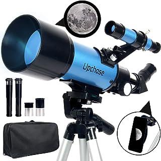 Upchase Telescopio Astronomico, 400/70mm Blue, Telescopio Rifrattore, Adatto per Adulti-Bambini-Principianti, Guarda il pa...