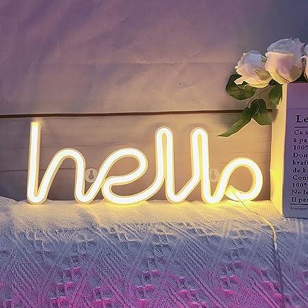 QiaoFei LED Hallo Neon Wort Zeichen Neon Licht Neon Buchstaben Licht Kunst dekorative Lichter, Festzelt Zeichen/Wanddekoration für Weihnachten, Geburtstagsfeier, Kinderzimmer,(Warm White Hallo)