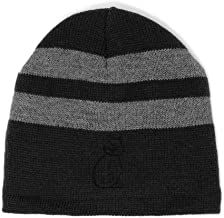 Custom Striped Beanie for Men & Women Cat Outline B Embroidery Acrylic