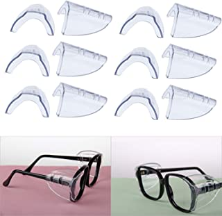OrangeTag 6 Pairs Safety Eye Glasses Side Shields, Slip On Clear Side Shield for Safety Glasses- Fits Small to Medium Eyeglasses