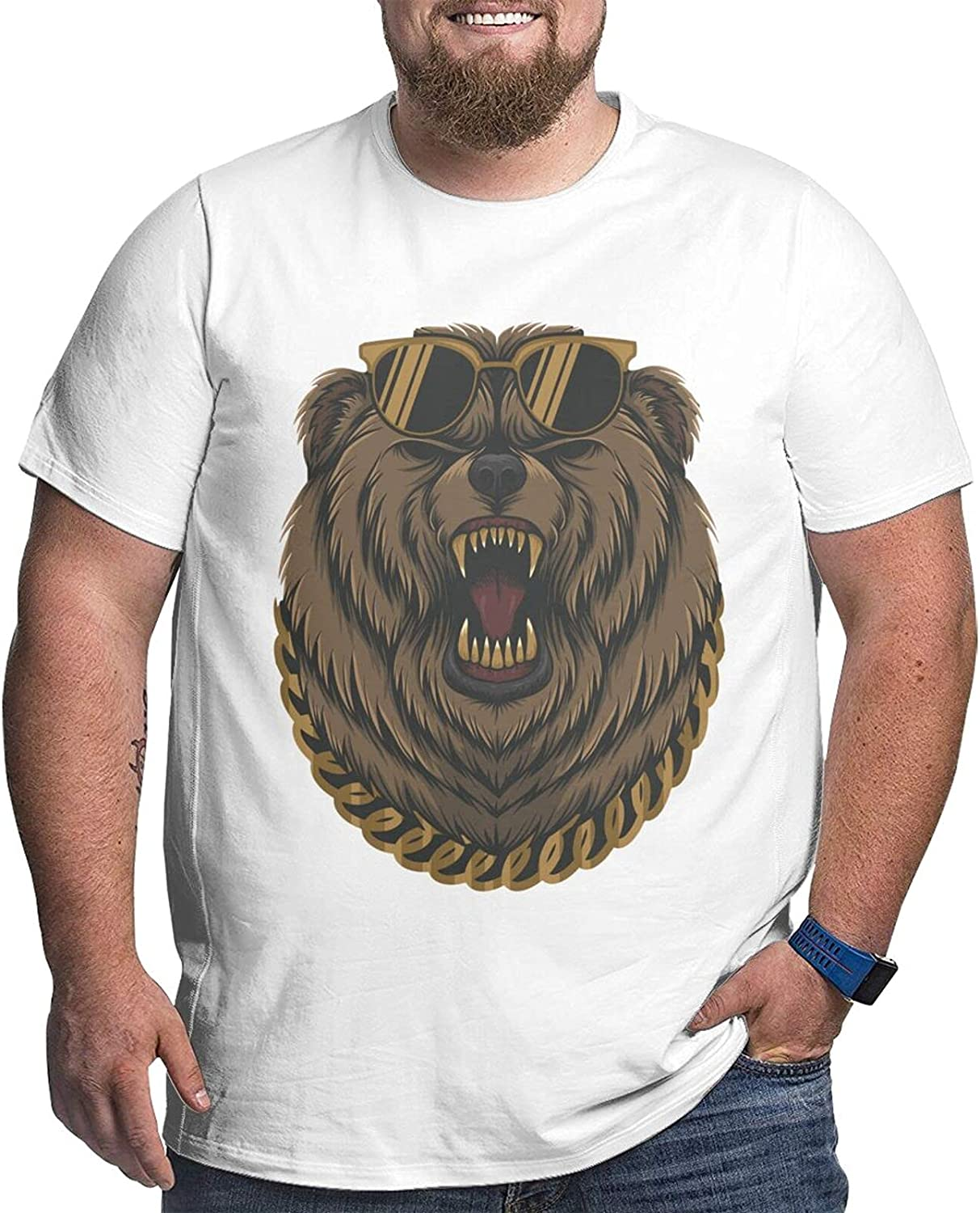 Angry Cool Bear Gold Chain Men Simple Big Size Summer Outdoor Short Sleeve Tshirts