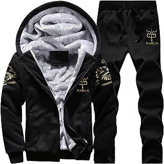Modern Fantasy Men's Winter Fleece Lined Hoodies Sweatsuit Camo Warm Tracksuit
