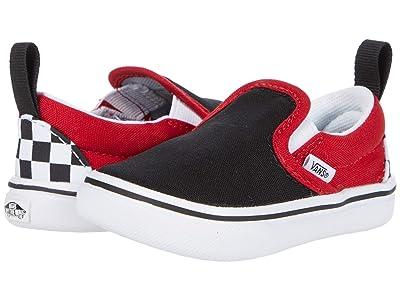 Vans Kids ComfyCush Slip-On V (Infant/Toddler) ((Checkerboard) Black/Red) Boys Shoes