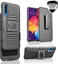 Customerfirst Cover for Samsung Galaxy A50 [Magnet Mount Ready] Ring Armor Holster 5 in 1 Rugged Case with Ring Finger Holder, Kickstand, Belt Clip & Tempered Screen A50