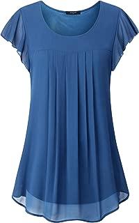 Women Layered Chiffon Tunic,Casual Ruffle Sleeve Round Neck Blouses Shirts
