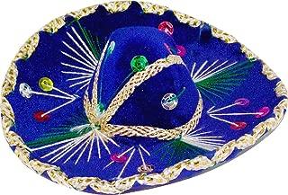 6 inch Mexican Decorative Mini Charro Sombrero, One Mini Mariachi hat (6 inches Wide - Blue)