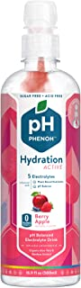 Phenoh Hydration Nutrient Infused Alkaline Water   Performance and Recovery   Plant Based   Clean Electrolytes High Potassium   pH8+   Sugar Free, Non GMO   Keto Paleo Friendly   Berry Apple 12 Pack