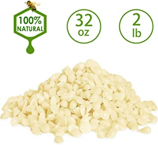 Howemon White Beeswax Pellets 32 oz 100% Pure and Natural Triple Filtered for Skin, Face, Body and Hair Care DIY Creams, Lotions, Lip Balm and Soap Making Supplies