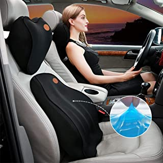 Gluckluz Lumbar Support Back Cushion Headrest Set Neck Pillow Kit with Memory Foam Gel Comfortable Relieve Back Sciatica T...
