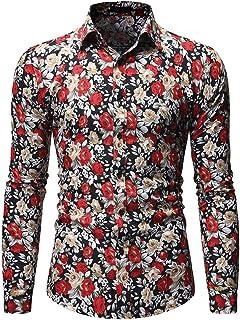 Hombre Camisa Manga Larga Negocio Casual Solapa Camisa Abotonada Estampado para Hombre Top Moda Ocio Blusa botón Funky Cam...
