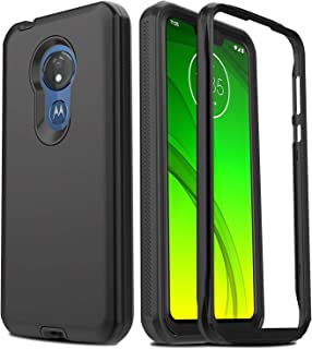 AMENQ Case for Moto G7 Power, Moto G7 Optimo Max XT1955 Case, Moto G7 Supra Case, Full Body Heavy Duty with TPU Bumper and Rugged PC Armor Protective Phone Cover with Screen Protector (Black)