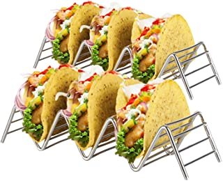 Stainless Steel Taco Holder Stand: 2 Wire Metal Tray Holders For Serving Up Soft & Hard Shell Food Truck Style Tacos - Wid...