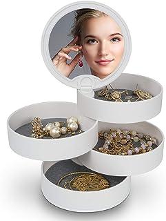 Caja joyería, MOSRACY Caja Organizador de joyería blanca giratoria de 360 ° de 4 capas, para almacenamiento Pendientes femeninos Collares Anillos Pulseras Cuerda para el cabello Horquilla Lápiz labial