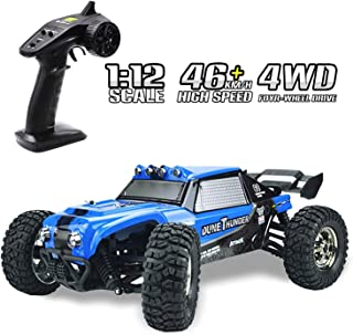 RC Cars Tecesy 1/12 Scale 4WD Off Road Waterproof RC Trucks with LED Lights, 2.4GHz Radio Remote Control Truck Monster, High Speed Crawler RC car for Adults (Blue)