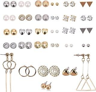 Senkary 30 Pairs Stud Earrings Crystal Pearl Earring Set Round Ear Piercing Ear Stud for Women Men Girls, Silver and Gold