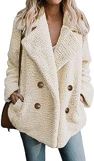 DJBM Women's Fuzzy Fleece Open Front Cardigan Jacket Coat Outwear with Pockets Ivory-M