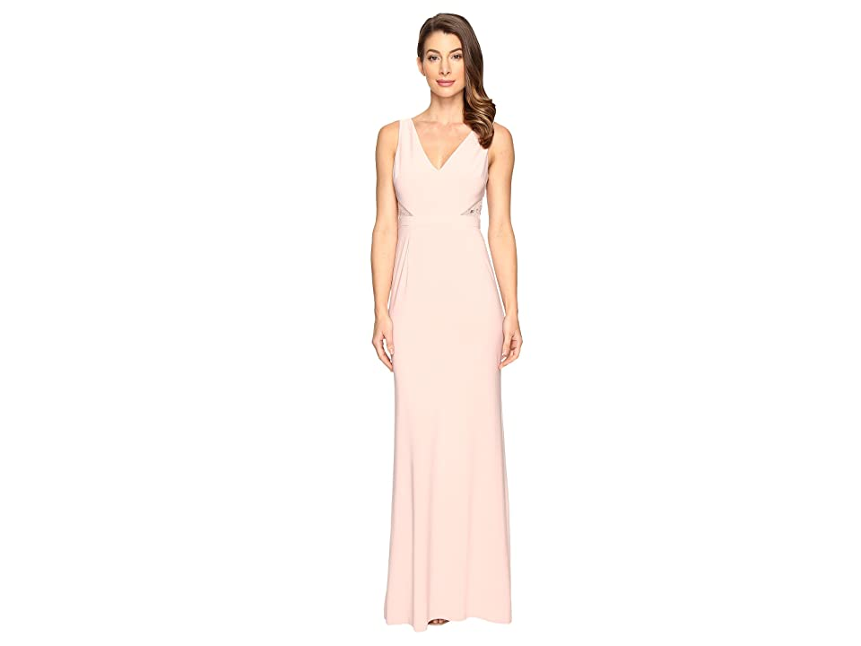 Adrianna Papell Jersey Sleeveless Gown w/ Cutouts (Icy Pink) Women