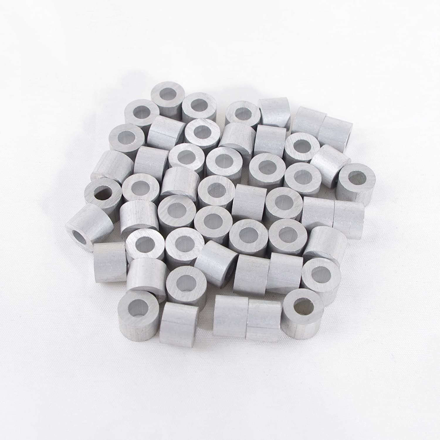 Details about  /50Pcs Aluminum  Alloy Stop Sleeve Clips for Fixing Transporting Wire Rope Cable