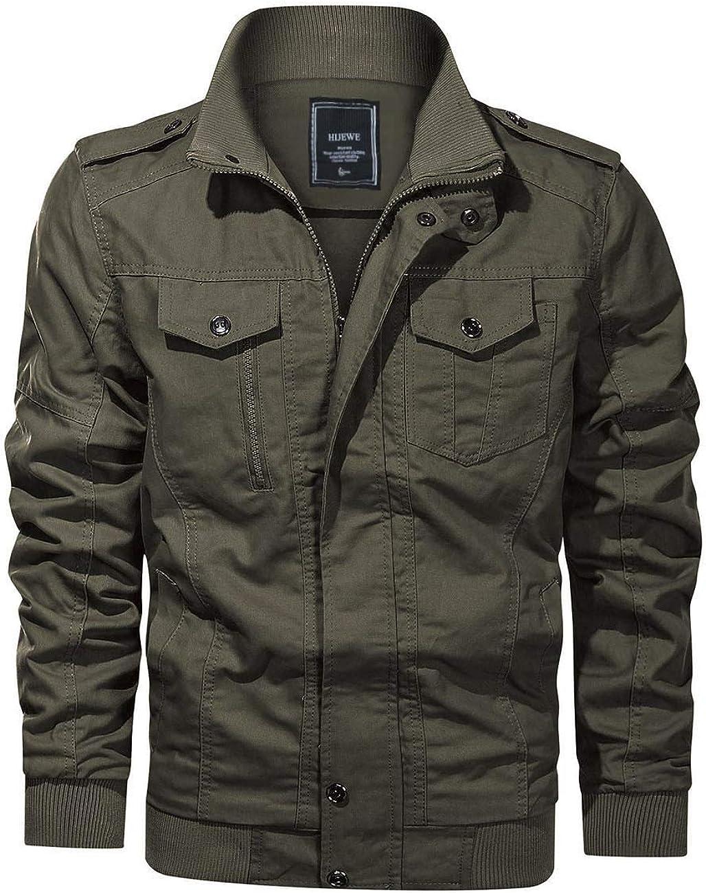 Men's Military Jacket Cargo Casual Coat Lightweight Outwear Cotton Stand Collar Windbreaker