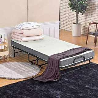 Erommy 77×38 Inch Folding Bed with a Super Strong Sturdy Frame and Luxurious Memory Foam Mattress,Portable Moving Pulley