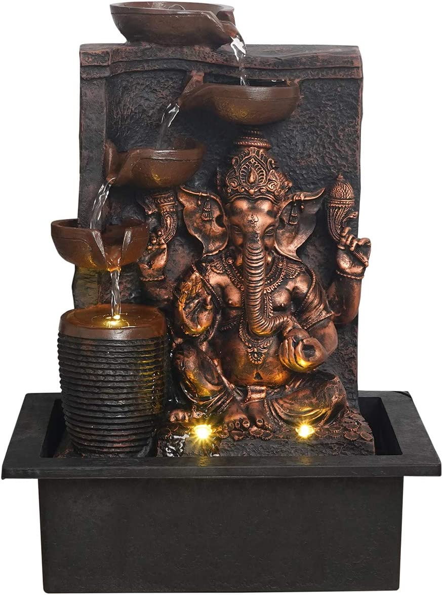 Chronikle Ganesha Polyresin SALENEW very popular Ranking TOP2 5 Steps Indoor Water Fount Table Top