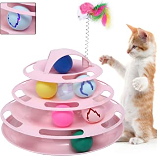 Pika Cat Tower of Tracks Ball Toys Latest 4 Level Interactive Pet Toys with 7 Colorful Catnip Flash Balls Suitable for Kittens Chase Healthy Physical Exercise