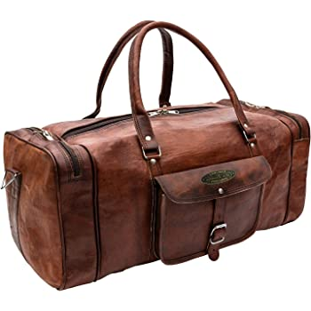 Bag Duffel Genuine Brown Leather Retro Vintage Big Round Duffel Travel Gym Bag