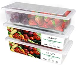 Food Storage Containers, 3 x 1.5L Fridge Organizer Case with Removable Drain Plate, Tray to Keep Fruits, Vegetables, Meat,...